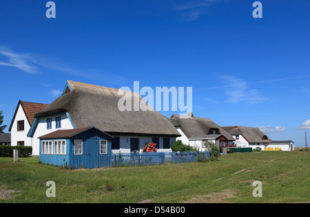 Hiddensee Island, village Neuendorf, thatched fishermens houses, Mecklenburg Western Pomerania, Germany - Stock Photo