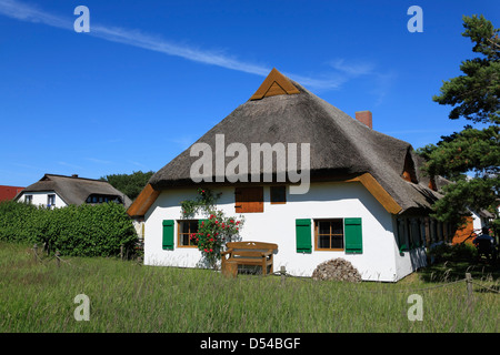 Hiddensee Island, Neuendorf , thatched Holliday home, Mecklenburg Western Pomerania, Germany - Stock Photo