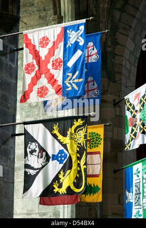Heraldic banners, St. Giles' Cathedral, Edinburgh, Scotland, United Kingdom - Stock Photo