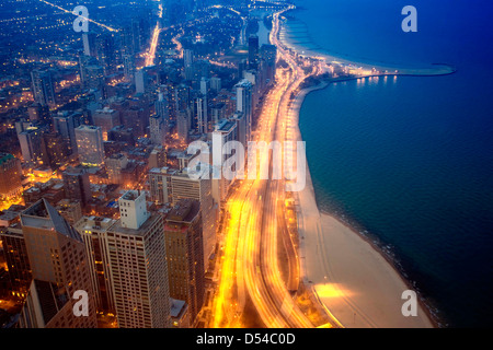 Chicago and Lake Michigan from the 94th floor of the John Hancock Building, Chicago, Illinois - Stock Photo