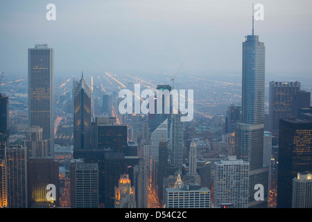 Chicago from the 94th floor of the John Hancock Building, Chicago, Illinois - Stock Photo