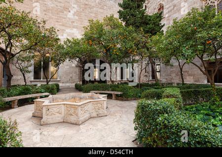 Courtyard of La Llotja de Seda in Valencia - Stock Photo