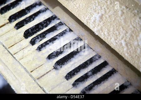 Gelsenkirchen, Germany, supplied snowed piano keys - Stock Photo