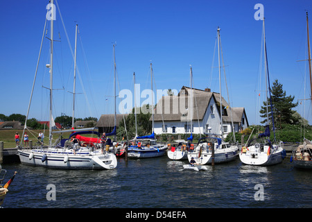 Hiddensee Island, sailing boats at Neuendorf harbor, Mecklenburg Western Pomerania, Germany - Stock Photo