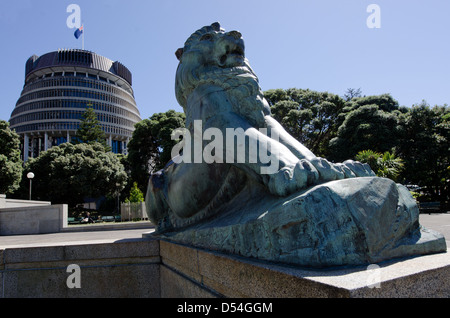 The Beehive building - Parliament of New Zealand in Wellington city as view from Wellington Citizens War Memorial - Stock Photo
