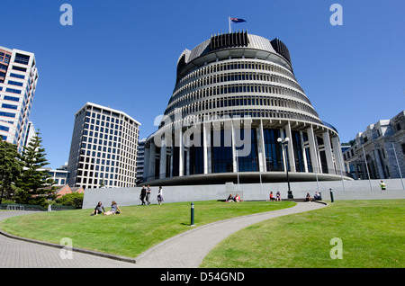 The Beehive building - Parliament of NZ in Wellington city - Stock Photo