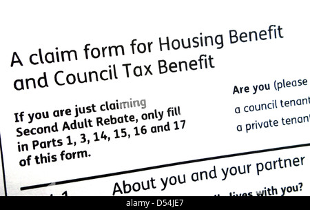 Council Tax And Housing Benefit Form Stock Photo, Royalty Free