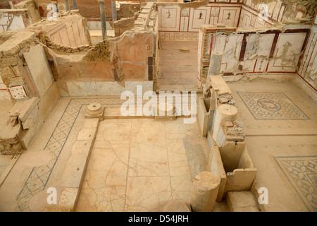 Restoration work in upper class palaces of the Slope Houses of ancient Ephesus Turkey - Stock Photo