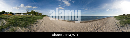 Eckernfoerde, Germany, panoramic image of a deserted beach - Stock Photo