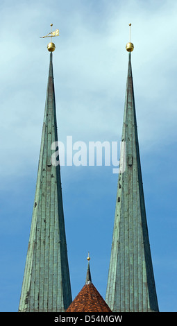 Berlin, Germany, towers of St. Nicholas Church in Berlin-Mitte - Stock Photo