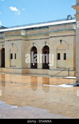 reflecting pools at entrance to Center for the Arts at San Agustin Etla via the back of converted old textile mill - Stock Photo