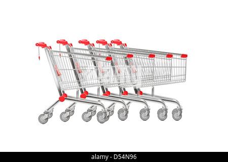 A studio shot many shopping carts isolated on white background - Stock Photo