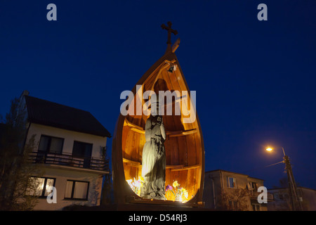 Kiss Field, Poland, sculpture of Saint Barbara - Stock Photo