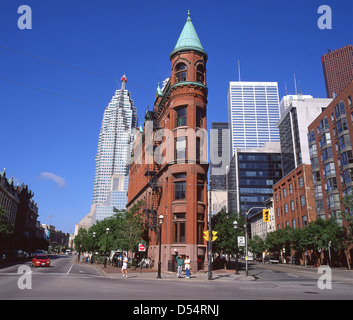 City downtown showing Gooderham (Flat Iron) Building in foreground, Toronto, Ontario Province, Canada - Stock Photo