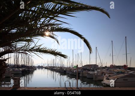 Puerto Pollensa, Spain, marina in Mallorca - Stock Photo