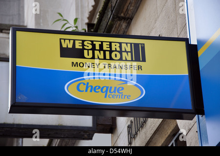 western union money transfer sign logo london england uk stock photo royalty free image. Black Bedroom Furniture Sets. Home Design Ideas
