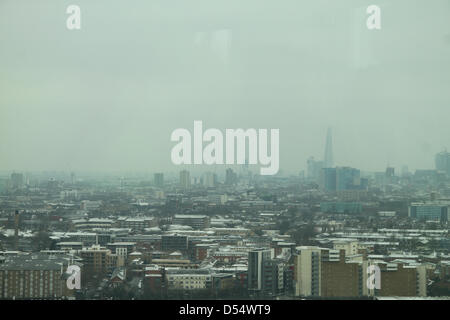 London, UK. 24th March 2013. The Shard and part of the London skyline seen from the  115-metre-high (377 ft) ArcelorMittal - Stock Photo