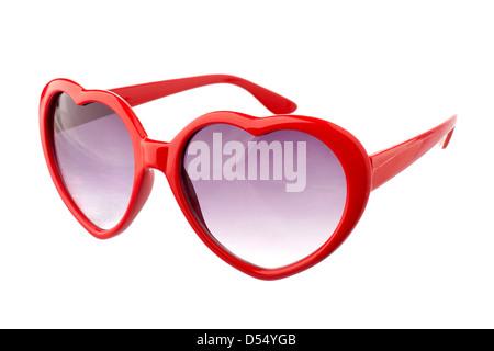 Heart shape sun glasses - Stock Photo