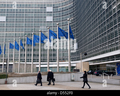 People at the Berlaymont European Commission building in Brussels, Belgium - Stock Photo