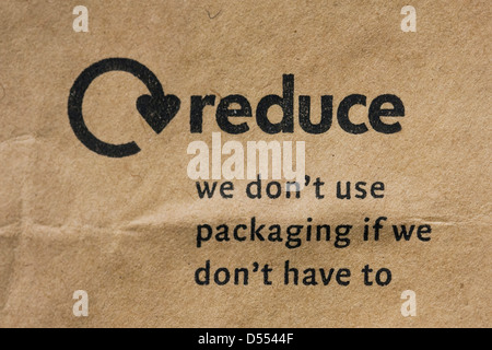 Reduce logo on a brown paper bag. - Stock Photo