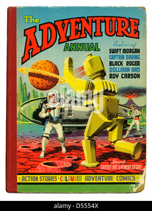 The Adventure Annual, 1953, featured a futuristic battle on a planet in space between astronauts and a giant robot - Stock Photo