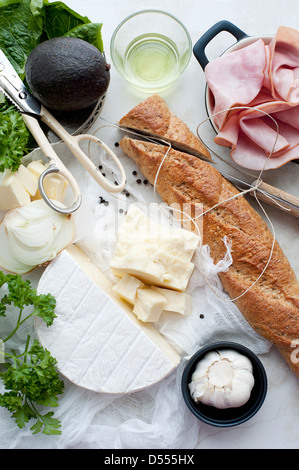 Bread, meat, cheese and oil - Stock Photo