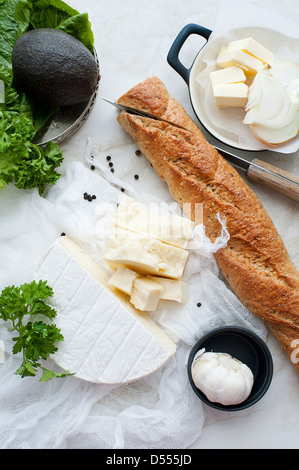 Bread, cheese, garlic and butter - Stock Photo