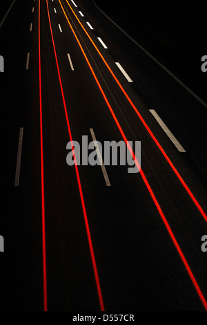 Long exposure view of traffic at night - Stock Photo
