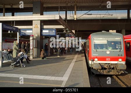 Local passenger train (RB47 Regional-Bahn) to Wuppertal, Dusseldorf HBF station Germany