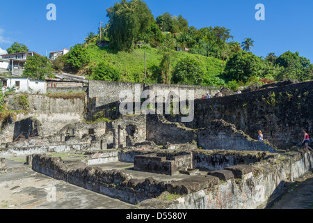 Martinique, St.Pierre, ruins of old city destroyed in 1902 eruption - Stock Photo