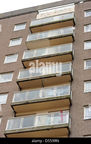 Council Flats, in Leeds UK, with British flag. - Stock Photo