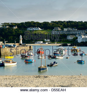 Smeatons Pier and the harbour with the tide in. St Ives, Cornwall, England - Stock Photo