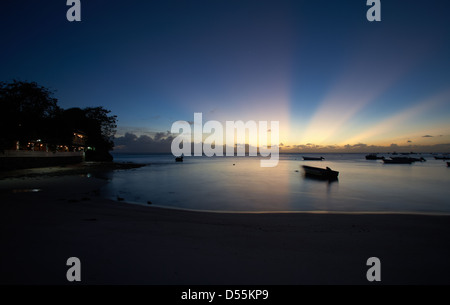 St. Lawrence Gap, Barbados, according to the St. Lawrence Bay in the evening sunset
