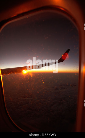 Paris, France, view from an airplane during the sunrise - Stock Photo