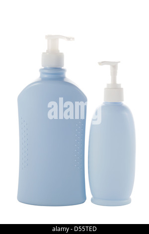 two Hair and Skin care bottles on a white background - Stock Photo