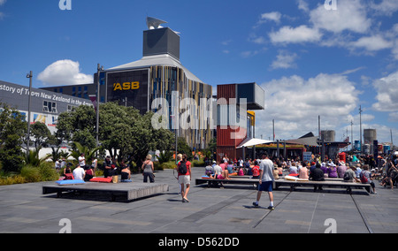 The new ASB Bank Building and pedestrian area, North Wharf, Wynyard Quarter, Auckland New Zealand - Stock Photo