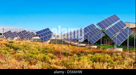 Solar power unit for the conversion of sunlight into electricity using photovoltaic panels - Stock Photo