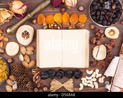 Turn an old book in an environment of nuts and fruits
