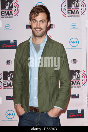 Chris Tomson, drummer of New York based indie rock band Vampire Weekend, arrives for the 2010 MTV Europe Music Awards - Stock Photo