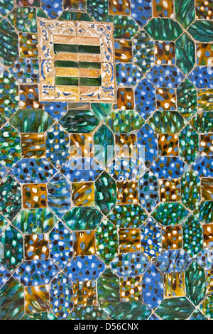 Vibrant ornate decorative Azulejos ceramic tiles design Casa de Pilatos Seville Andalusia Andalucia Spain Europe - Stock Photo