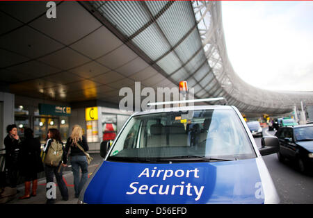 An Airport Security vehicle is parked outside the terminal at the airport in Duesseldorfd, Germany, 18 November - Stock Photo