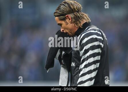 Bremen goalkeeper Tim Wiese is disappointed at halftime of the Bundesliga match FC Schalke 04 versus Werder Bremen - Stock Photo
