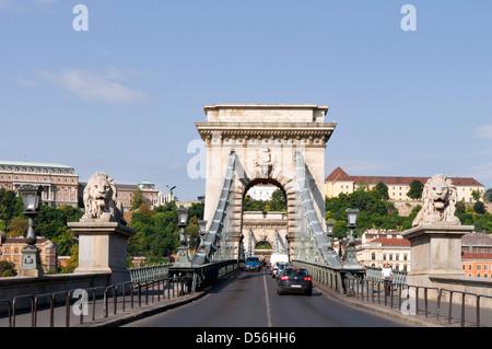 Szechenyi Bridge, Budapest, Hungary - Stock Photo