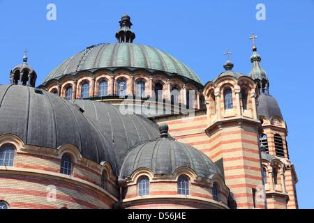 Sibiu, town in Transylvania, Romania. Holy Trinity Orthodox Cathedral. - Stock Photo