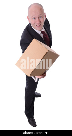 businessman offering a parcel isolated on white - Stock Photo