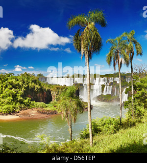Iguassu Falls, the largest series of waterfalls of the world, located at the Brazilian and Argentinian border - Stock Photo