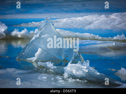Triangular sheet of ice on Upper Klamath Lake in southern Oregon - Stock Photo