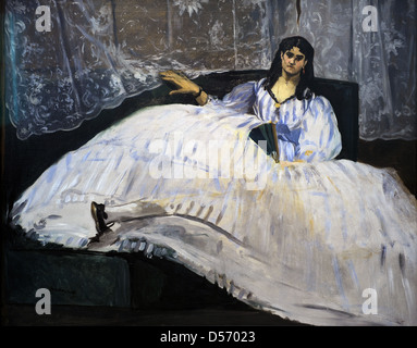 Edouard Manet (1832-1883). Impressionist french painter. Lady with a fan, 1862. Museum of Fine Arts. Budapest. Hungary. - Stock Photo