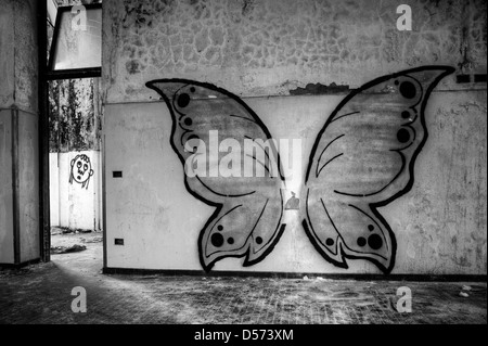 Italy. Abandoned mental hospital. Butterfly mural - Stock Photo