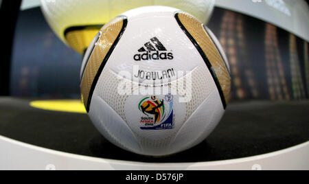 The official ball 'Jabulani' for the final of the FIFA World Cup 2010 in South Africa pictured during the presentation - Stock Photo